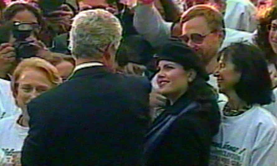 Clinton and Lewinsky on the south lawn of the White House in November 1996