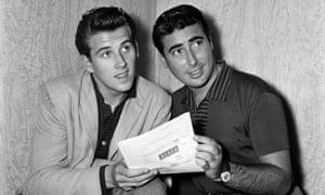 Vince Eager alongside Larry Parnes in August 1959.