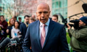 Peter Dutton leaving a press conference in Canberra last week. The home affairs minister is under pressure to explain why he intervened in the au pair cases and a claim he may have misled parliament.