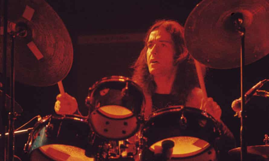 Jaki Liebezeit performing in 1971. He incorporated a range of styles, from African and funk rhythms to violent thrashing grooves, while maintaining meticulous rhythmic control.
