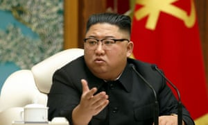 Kim Jong Un speaks in Pyongyang on Monday, his first public appearance in 27 days.