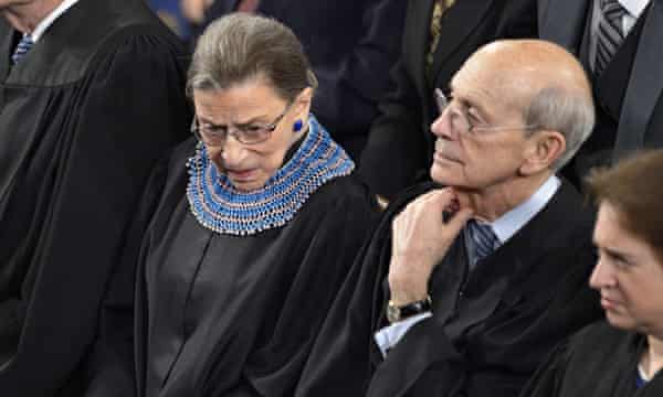 The US supreme court justices Stephen Breyer, right, and Ruth Bader Ginsburg, left, expressed their constitutional objection to the death penalty in a recent dissenting opinion.