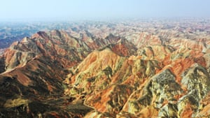 Gansu, China. The colourful mountains of Lanzhou Danxia Landform are soon to be opened to tourists