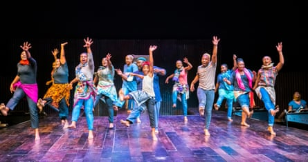 Siphosethu Hintsho, centre, as Somali refugee Asad Abdullahi, and cast in A Man of Good Hope at the Linbury theatre.