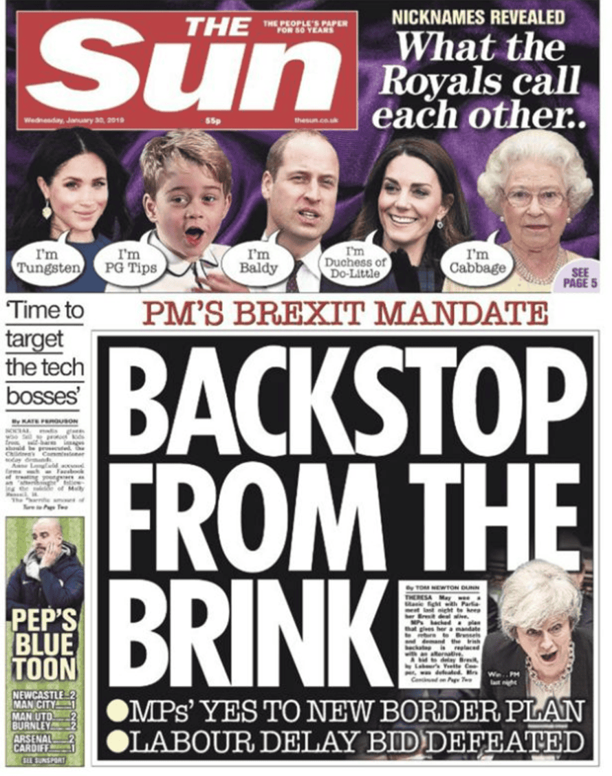 Sun front page, Wednesday 30 January