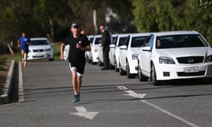 The Liberal member for Bowman, Andrew Laming, is the first politician home in the inaugural Reps door to Reps door foot race on Tuesday morning.