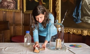 Researcher Cecilia Bembibre extracts the smell of a 18th-century Bible, to be logged using her 'odour wheel'.