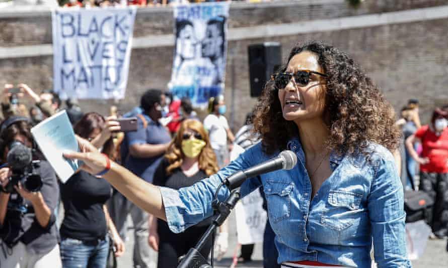 The designer Stella Jean at a Black Lives Matter demonstration in Rome on 7 June.