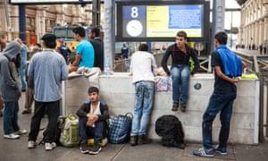Refugees at Budapest railway station.