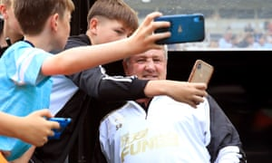 Steve Bruce was in demand for selfies with Newcastle fans at St James' Park.