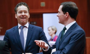 Dutch finance minister Jeroen Dijsselbloem, left, chats with chancellor George Osborne in Brussels on Tuesday.