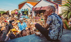 Norman Cook, aka Fatboy Slim, addresses the Morning Gloryville crowd.