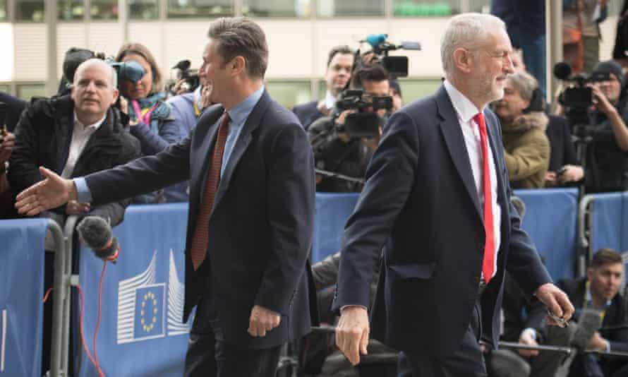 Labour leader Jeremy Corbyn and shadow Brexit secretary Sir Kier Starmer speak to the media in Brussels.