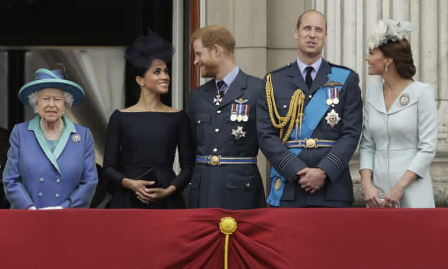 The Queen with the Duke and Duchess of Sussex and Duke and Duchess of Cambridge at Buckingham Palace, London, July 2018