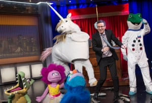 Comedian John Oliver on TV show Last Week Tonight with puppets