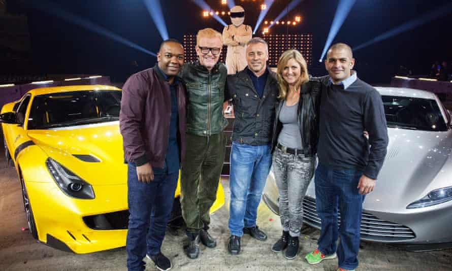 Top Gear presenters Rory Reid, Chris Evans, the Stig, Matt LeBlanc, Sabine Schmitz and Chris Harris at BBC Worldwide's TV sales event in Liverpool.