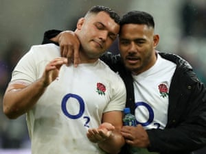 Ellis Genge with Manu Tuilagi after England's defeat by France
