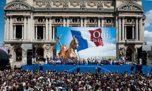 Marine Le Pen addresses the Front National (FN) party's May day rally in Paris in 2012.