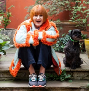 Mary Portas shot at her home with her dog Walter 10 years old.