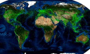 Signals broadcast by planes around the world, detected by satellite