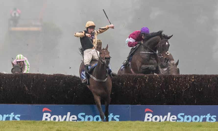 Bellshill clambers over the last fence at the Irish Grand National.