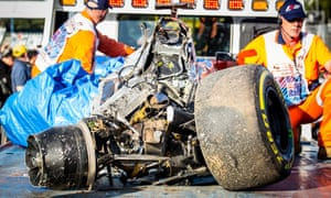 The remains of Fernando Alonso's McLaren Honda after his crash at the Australian F1 Grand Prix.
