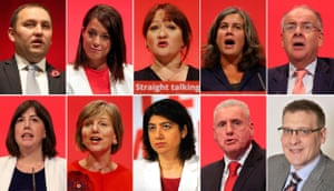 Some of those who quit the shadow cabinet on Sunday: (top row, left to right) Ian Murray, Gloria De Piero, Kerry McCarthy, Heidi Alexander, Lord Falconer; (bottom row, left to right) Lucy Powell, Lilian Greenwood, Seema Malhotra, Vernon Coaker, Karl Turner. Chris Bryant also resigned late on Sunday.