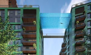 Embassy Garden sky pool, London, Britain  - Aug 2015<br>MANDATORY CREDIT: Ballymore/REX Shutterstock. Only for use in this story. Editorial Use Only. No stock, books, advertising or merchandising without photographer's permission Mandatory Credit: Photo by Ballymore/REX/Shutterstock (4974033b) A visualisation of the sky-high suspended swimming pool Embassy Garden sky pool, London, Britain  - Aug 2015 FULL COPY: http://www.rexfeatures.com/nanolink/qug9 Plans have been unveiled for a swimming pool that is suspended 35 meters high in the sky. The swimming pool will be placed at Embassy Gardens, near South Bank in London. The striking outdoor pool will link two residential buildings at the 10th storey - a world first - and allow residents to swim from one building to the next.