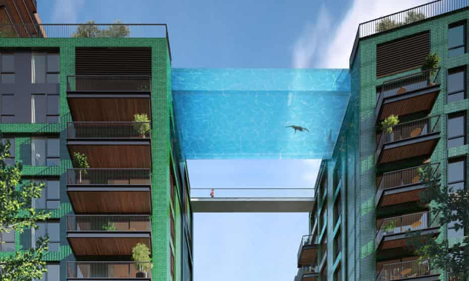 A visualisation of the 10th-storey Sky Pool at Embassy Gardens, London.