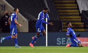 Iheanacho celebrates scoring Leicester's third goal.
