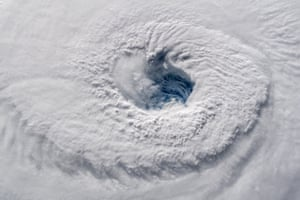 A high-definition camera outside the International Space Station captured this view of the eye of Hurricane Florence moving across the Atlantic in a west-northwesterly direction with winds of 130 miles an hour.