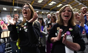 Yes supporters in Dublin listen to results of an exit poll after the abortion referendum