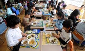 Children eat in Japan