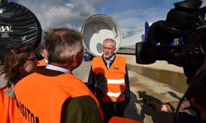 Jeremy Corbyn giving an interview during a visit to MHI Vestas's wind turbine logistics facility at the old Fawley Power Station in Southampton today.