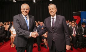 Scott Morrison and Bill Shorten in Perth for the first televised debate of the election campaign.