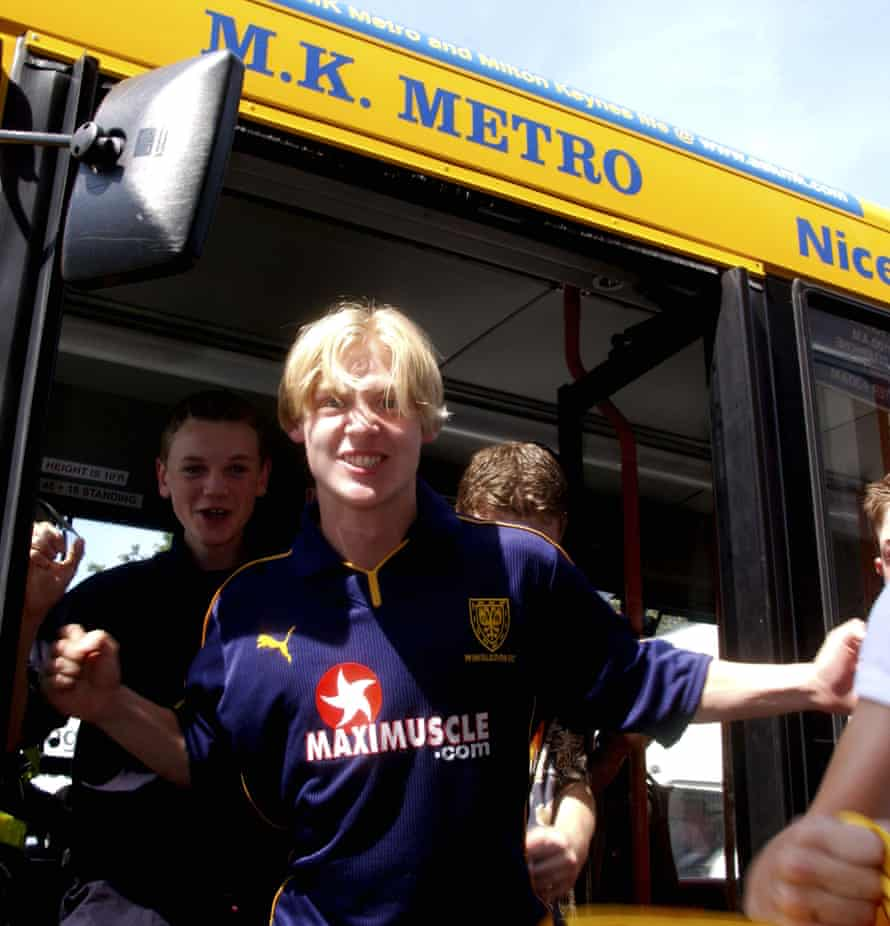 New supporters travel to Vicarage Road for the game against Watford on 17 August 2002 on a specially chartered bus from Milton Keynes, paid for by Peter Winkelman
