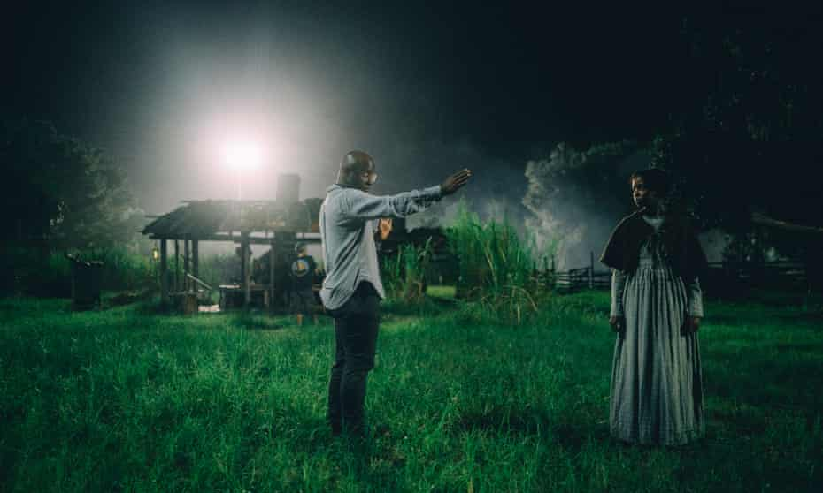 Barry Jenkins on the set of The Underground Railroad with Thuso Mbedu.