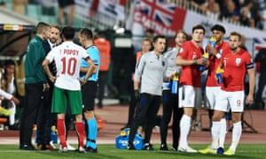 Gareth Southgate manager of England informs match officials and Ivelin Popov of Bulgaria of racist abuse of England players