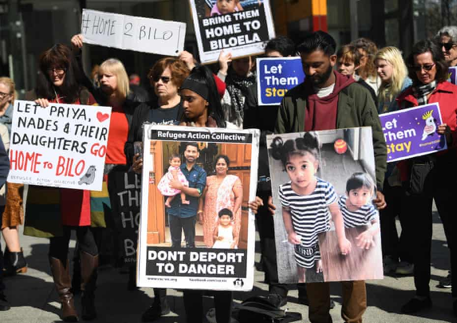Demonstrators rally in support of the Biloela family at the federal  court in Melbourne
