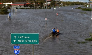 A flooded highway in LaPlace, Louisiana.