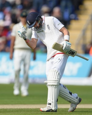 Joe Root celebrates after reaching his century, the fastest ever 100 in the first innings of an Ashes series