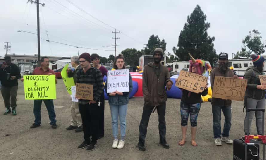 Oakland homeless activists came together to protest real estate developer Gene Gorelik who offered people in a homeless encampment $2,000 in hopes of getting them to leave.