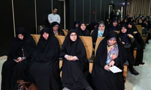 Supporters of conservative candidates at a meeting in Tehran