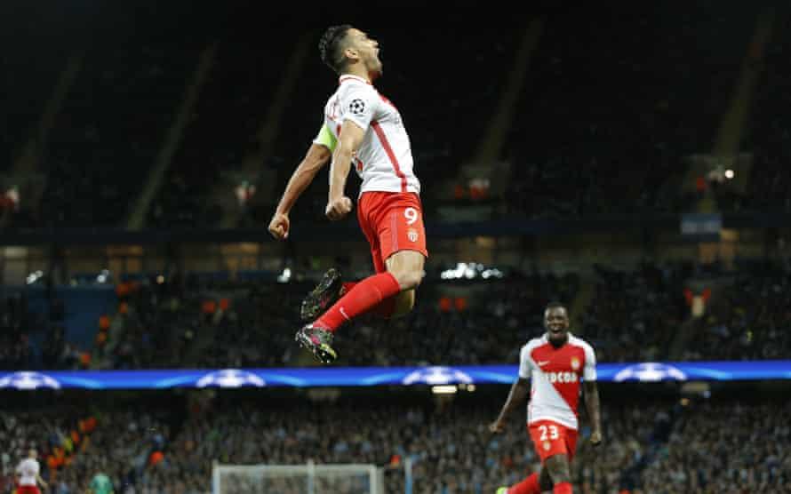 Monaco's Radamel Falcao celebrates scoring their first goal.