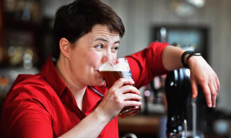 Scottish Conservative leader Ruth Davidson behind the bar