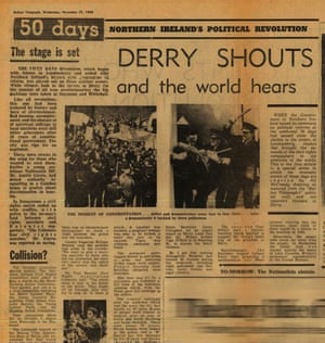 The Belfast Telegraph, from November 1968, reports on the violence spiralling out from the Derry march.