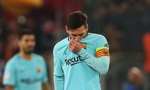 A forlorn Lionel Messi after Roma had gone 3-0 up against Barcelona