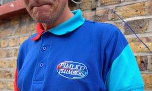 A plumber wearing the Pimlico Plumbers workwear