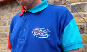 A Pimlico Plumbers staff member wearing his uniform