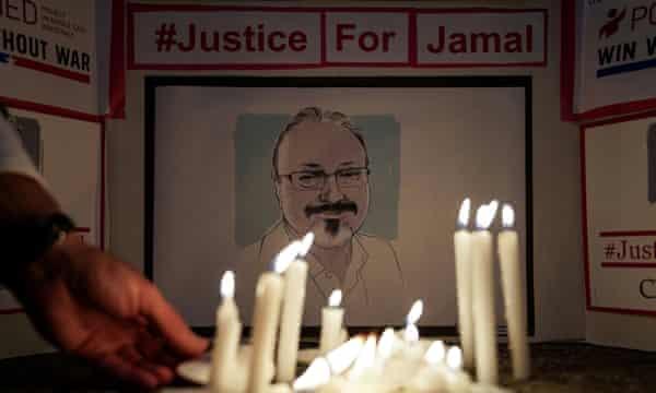 A vigil outside the Saudi embassy in Washington for the murdered journalist Jamal Khashoggi.